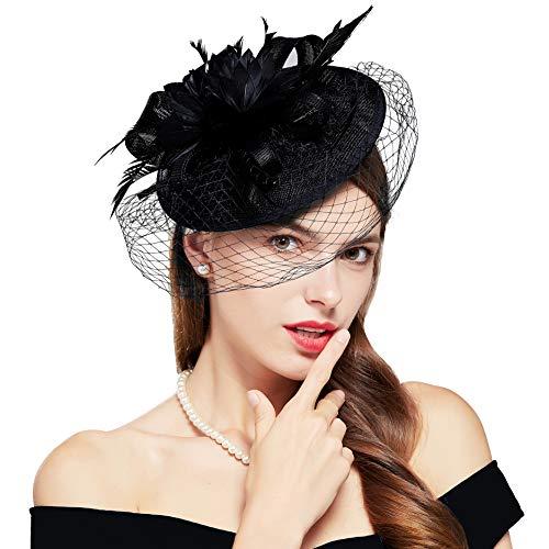 Coucoland Fascinator Pillbox Hat Feather Mesh Net Veil Fascinator Flower Hair Clip Fascinators Hat Bridal Headpiece Wedding Church Derby Hats Race Hats 1920s Flapper Hat (C Black) (Black)