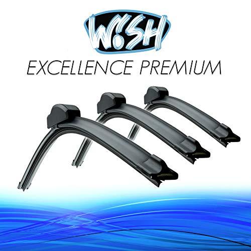 '3 x Wish® Excellence 22 550 mm/16 400 mm/18 450 mm Kit avant + d'essuie-glace avant + arrière flachbal Ken Balai d'essuie-glace arrière