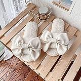 XZDNYDHGX Niño Peluche Invierno Pantuflas,Zapatillas Suaves de Felpa con Nudo de Lazo cálido para Mujer,Zapatillas de Invierno para el hogar para Mujer, Blanco EU 34-35