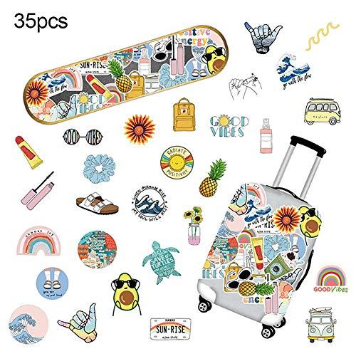 cuckoo-X Pegatinas de Maleta de 35 Piezas, Pegatinas de Doodle Pegatinas de Variedad Impermeables sin decoloración para Maleta de monopatín Equipaje de computadora portátil y más