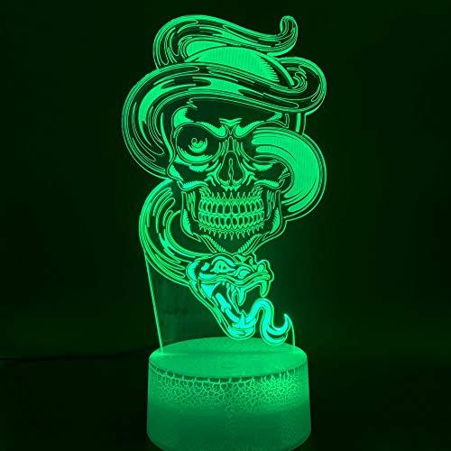 Nur 1 Stück Schädel und Schlange 3D Optische LED Nachtlicht für Club Office Home Room Dekoratives Nachtlicht Cool Holiday Festival Geschenk Schreibtischlampe