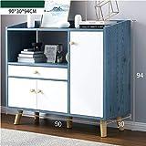 Alacenas Hogar Vida Sencilla habitación aparador Armario de la Cocina Moderna Simplicidad Armario Locker multifunción Horno microondas gabinete del Vino 90X30X94cm (Color : Blue Pine Color)