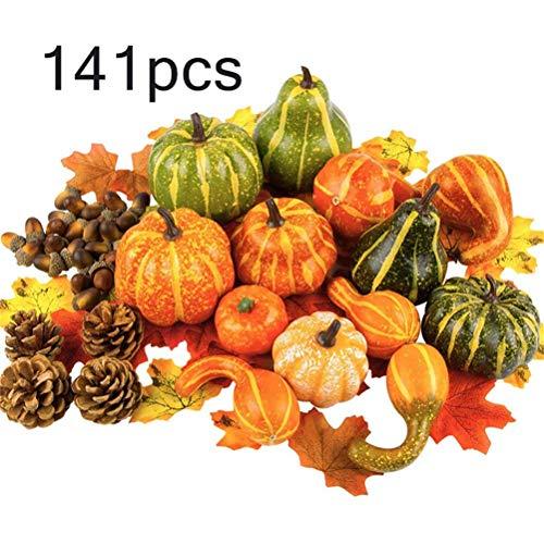 ExH 141 Stück Herbst Thanksgiving Dekorationen Mini künstliche Kürbisse Tannenzapfen Ahornblatt Herbst Ernte Requisiten für Hochzeit Ernte Herbst und Halloween Home Tischdekoration