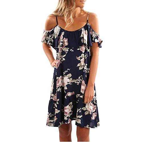 OVERDOSE Damen Sommerkleid Blumen-Rüsche Kleid Helter Kleider Weg vom Schulter Minikleid Strand Partei Kleid (XXL, Blau)