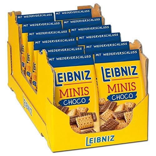 Leibniz Minis Choco im 12er Pack— Mini-Butterkekse mit Schokolade — Schoko-Kekse in der Großpackung — Keks-Box mit Butter-Gebäck in 12 Kekstüten — Vorrats-Box (12 x 125 g)