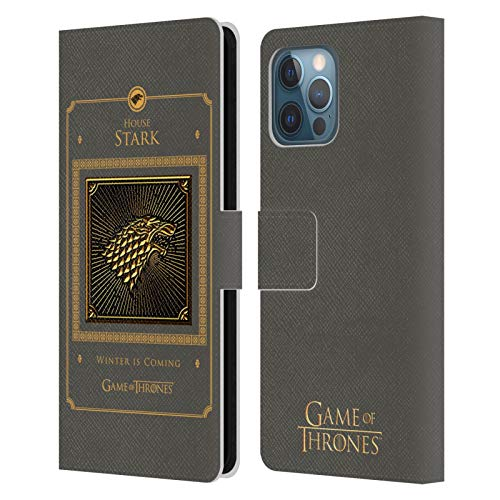 Head Case Designs Officially Licensed HBO Game of Thrones Stark Border Golden Sigils Leather Book Wallet Case Cover Compatible with Apple iPhone 12 Pro Max