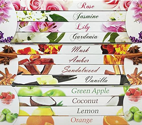 Lote de 12 cajas de incienso con una gran variedad de aromas. Floral, frutas y exótico. 96 varillas para hogar, meditación, relajación, SPA, yoga, adoración, reiki y muchas más actividades. (12 Cajas)
