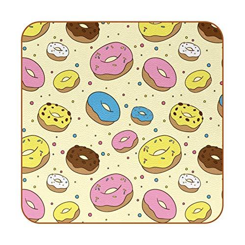 Posavasos para Bebidas Choclate Dulce De Donuts Coasters Juego de 6 impresión Mug Mats para la Cocina Salón Bar Decoración Regalos de Diseño Creativo 10.3x10.3 cm