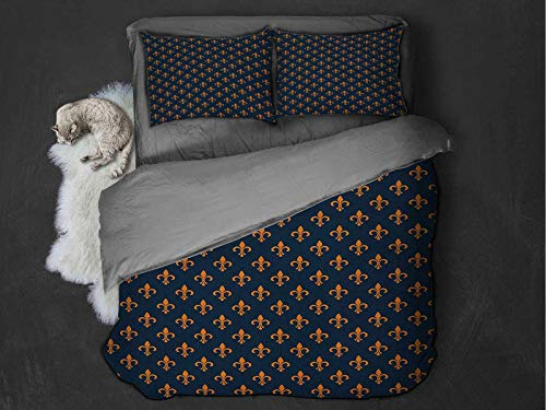 Toopeek Fleur De Lis 3-pack (1 duvet cover and 2 pillowcases) Floral Pattern with Pointed Buds and Curved Leaves Ancient Western Motifs Polyester (Full) Indigo Orange