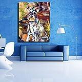FENGJIAREN Moderner Gemälde von Hand Schnauzer Hund gemalt mit Öl Reine 100% Dekoration für Haus Schlafzimmer Wohnzimmer ohne Rahmen