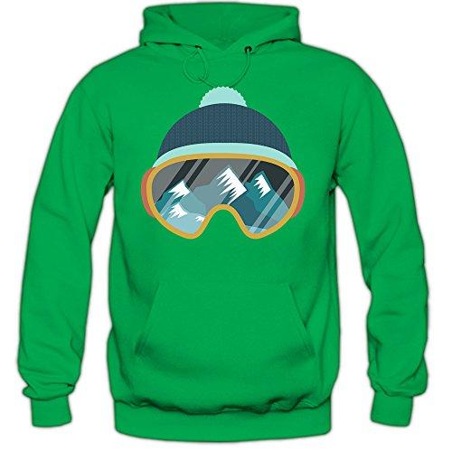 Shirt Happenz Ski Snowboard Premiumhoodie Wintersport Hoodie Skifahren Kapuzenpullover, Farbe:Hellgrün;Größe:XXL