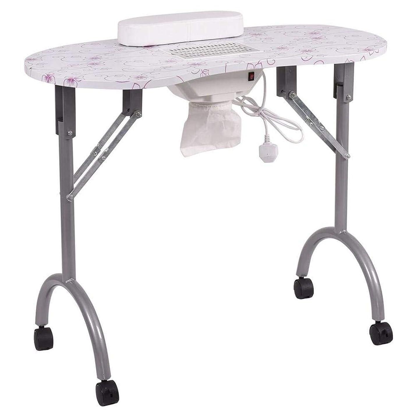 虐待怒ってマイルネイルテーブル折りたたみ式ポータブルマニキュアテーブルベントマニキュアワークステーションネイルデスクサロンスパネイル掃除機andbag