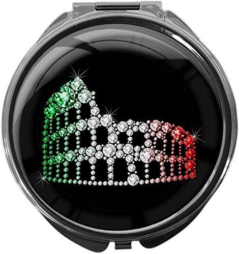 metALUm Pillendose mit Spiegel rund Metall 3 Fächer KOLOSSEUM #1140