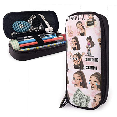 ZhaXiPingCuo Ari-aGr-ande Mäppchen - High Capacity PU Leather Pencil Pouch with Double Zipper Stationery Organizer Multifunction Cosmetic Makeup Bag