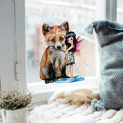 ilka parey wandtattoo-welt Fensterbild Elfe & Fuchs -WIEDERVERWENDBAR- Fensterdeko Fensterbilder bf4
