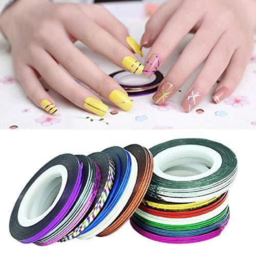 Ogquaton Premium Qualité 32 Pcs Couleurs Mixtes Nail Rolls Striping Tape Line DIY Nail Art Conseils Décoration Autocollant Ongles Soins