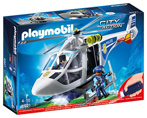 PLAYMOBIL City Action Police Helicopter with LED Lights, from 4 Years (6921)