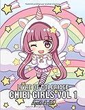 Chibi Girls Livre de coloriage Vol 1: Pour les enfants avec des personnages adorables Kawaii du monde fantaisiste des anime, avec des scènes de manga