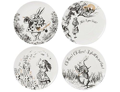 V&A Alice in Wonderland 4er-Set Beilagenteller, 20,5 cm (8 Zoll)