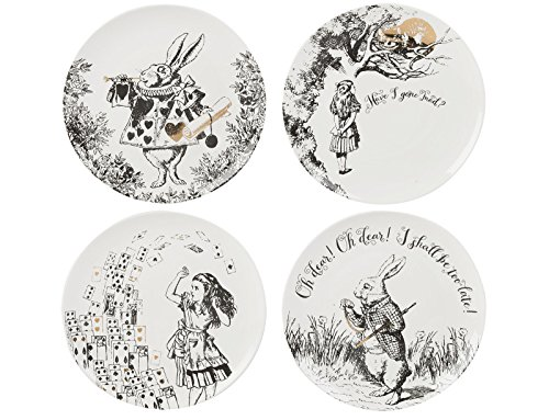 V&A Alice in Wonderland 4er-Set Beilagenteller, 20,5 cm (8 Zoll)