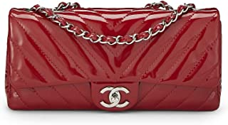Red Chevron Quilted Patent Leather East/West Flap Medium (Pre-Owned)