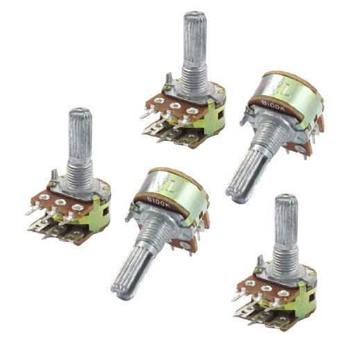 5piezas B100K 100K Ohm 6pines Split Shaft Rotary lineal Dual Taper Potenciómetros
