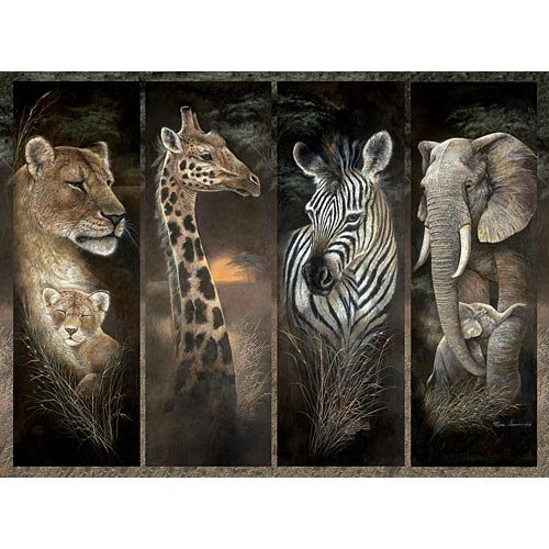 Bits and Pieces - 3000 Piece Jigsaw - Puzzle Pride of Africa by Artist Ruane Manning - African Jungle Animals: Lions, Giraffes, Elephants and Zebras - 3000 pc Jigsaw