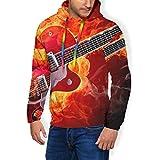 LAOLUCKY Pull à Capuche à Manches Longues pour Homme Motif Guitare électrique Orange - Noir - X-Large