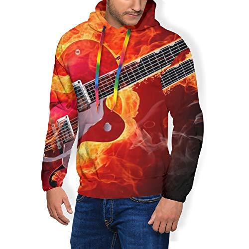 LaoLUCKY - Sudadera con capucha para hombre con diseño de guitarra eléctrica...