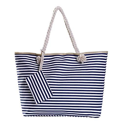 Bolso de Playa Grande con Cremallera Bolso de Hombro a Rayas Azul Oscuro y Blanco
