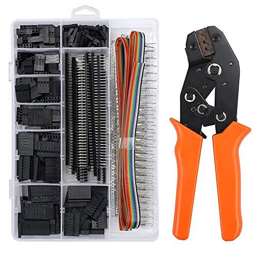 Herramientas de Crimpadora Dupont, Juego de Crimpadora con 1550PCS Pins Macho y Hembra Conector Dupont 28-18AWG 0.1-1.0mm² para equipamiento de impresión 3D RPi Arduino
