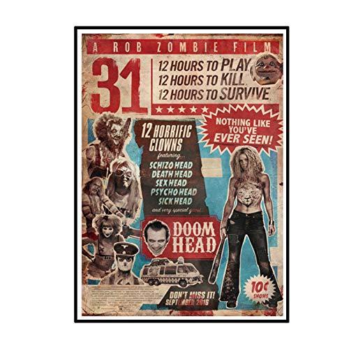 Swarouskll 2016 A Rob Zombie Film 31 Horrorfilm Malerei Poster Leinwand Wandbild für Home Room Decor -50X70cm No Frame 1 PCS