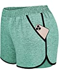Blevonh Green Shorts for Women,Elastic Straps Modesty Active Wear Shorts Girls Slim Fit Solid Color Cute Funny Workout Sports Yoga Boardshorts with Pocket Green S