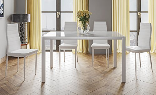 HOGAR24.es- Conjunto Mesa 140 cm x 80 cm x 75 cm + 4 SILLAS Color Blanco Salon Comedor Cocina