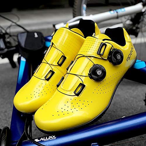 CHD Chaussures De Cyclisme sans Serrure Verrouillent Le Vélo Route pour Hommes Et Femmes.Boucles Rotatifs Électriques Respirants Doublure Confortable Velcro 36-45,Jaune,43