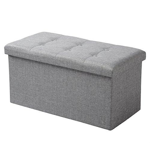 WOLTU® Sitzhocker mit Stauraum Sitzbank faltbar Truhen Aufbewahrungsbox, Deckel abnehmbar, Gepolsterte Sitzfläche aus Leinen, 76x37,5x38 cm, Hellgrau, SH10hgr-1