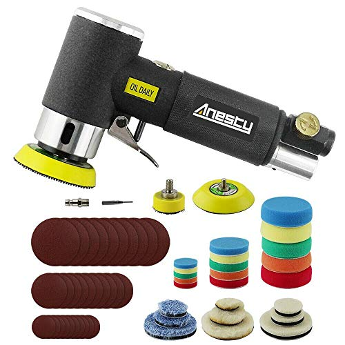 Mini-Druckluft-Exzenterschleifer, Anesty Mini Exzenterschleifer, 25 mm/50 mm/75 mm, Air Sander 1 Zoll/2 Zoll/3 Zoll, kleiner Pneumatischer Orbitalschleifer
