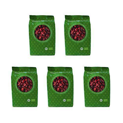 Mundo Feliz - Arándanos rojos ecológicos deshidratados, 5 bolsas de 100g