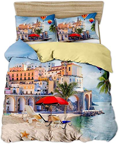 DUVETWEI Bedding Set 3 Pieces Duvet Cover with 2 Pillowcases,Soft Microfiber Pintuck Duvet Cover Set (1 Duvet Cover 200x200 cm /2 Pillow Cases 50x75 cm)Hot air balloon scenery with plants and flowers