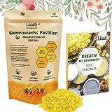 Bienenwachs Pastillen - 100% Natürlich - 100g, 200g oder 500g + ebook mit Rezepten, Kosmetik, Handcreme, Kerzen, Bienenwachstücher, Holz-, Möbel-, und Lederpflege - wiederverschließbarer Beutel