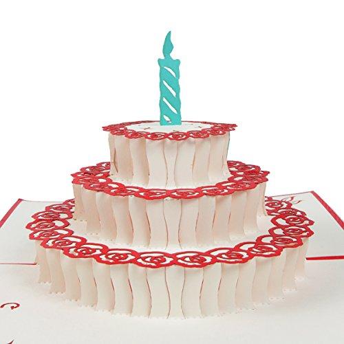 """3D Geburtstagskarte """"Geburtstagskuchen"""", Karte zum Geburtstag, Geburtstagsgeschenk für Frauen, für Männer, Geschenkkarte, kreativ, handgefertigt, mit Umschlag und mit Folie, Pop Up Karte"""