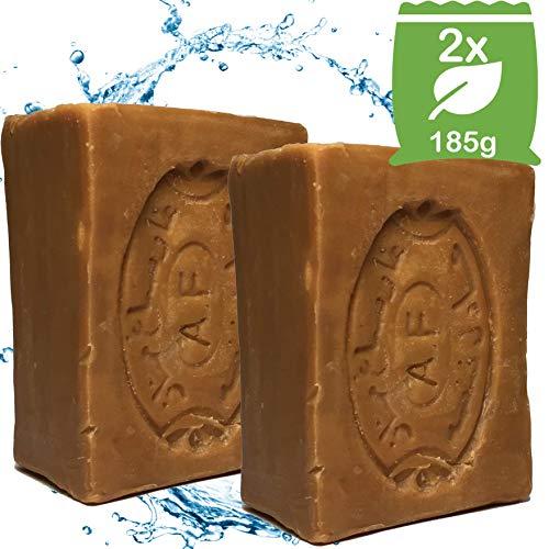 2x PüraLux Aleppo-Seife 185g mit 40% Lorbeeröl & 60% Olivenöl | Handgeschnitten & Handgemacht | ideal für Gesicht Körper Haarwäsche Rasur | 100% Naturseife| Vegan | Naturkosmetik Naturprodukt
