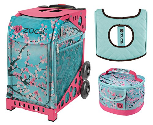 Zuca Hanami Sport Insert Bag and Pink Frame with Flashing Wheels, Matching Lunchbox and Seat Cushion