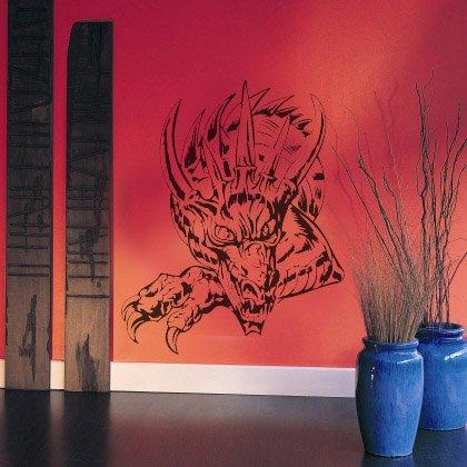 INDIGOS UG - Wandtattoo - Wandaufkleber - w352 Drache Drachen Feuer Monster 40x32 cm, violett - Wandsticker für Kinderzimmer, Wohnzimmer, Bad, Dekoration, Schule, Büro, Hotel