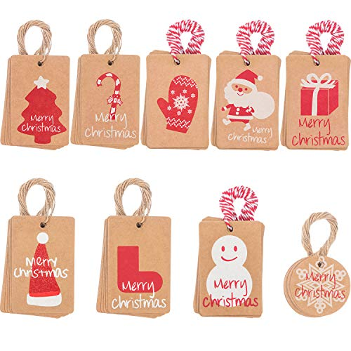 Scopri offerta per 90 Pezzi Etichette per Regalo di Natale Etichette Regali Tag con Stringa 100 Conto, 9 Disegni per Buon Natale Regalo Sacchetto Festa Forniture