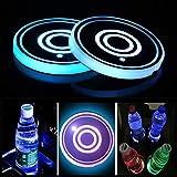 Juego de 2 luces LED para portavasos, Posavasos de LED con almohadilla de copa luminiscente de 7 colores, Taza de carga USB para accesorios de posavasos Decoración interior Ambiente Luz.