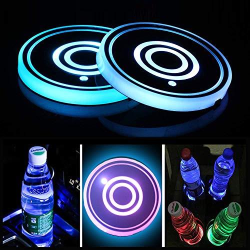 Juego de 2 luces LED para portavasos, Posavasos de LED con a