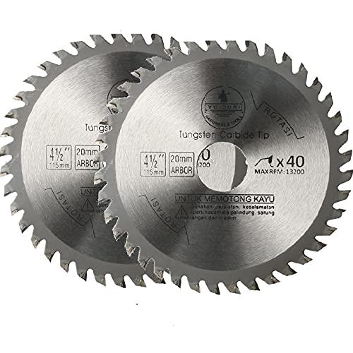 2 hojas para sierra circular para madera, 115 mm, 40 dientes TCT, hoja de carburo de tungsteno para amoladora angular para madera y plástico (2 unidades)