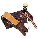 Corte de afeitar, colección clásica vintage caja de madera recta corte de garganta afeitán de madera afeitado con cepillo de afeitado de pelo