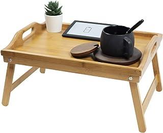 KKTONER Plateau de lit en bambou avec pieds pliables pour ordinateur portable Plateau de service Plateau de petit-déjeuner...